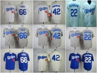 Wholesale Los angeles dodgers Baseball Jerseys Clayton Kershaw Jackie Robinson Yasiel Puig white Grey Blue Wear Athletic Shirts Mix Orders
