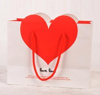 Wholesale Heart White Cardboard Paper Bag Love Shopping Bags Size x100x170mm