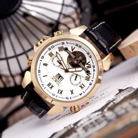 analog online - New Tourbillon Clock Winner Top Brand Men Watches Luxury Fashion black Leather Band Mechanical Hand Wind up WristWatch store online for sell
