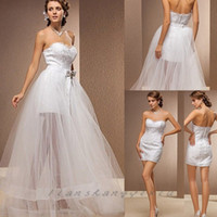Wholesale 2015 Sexy Sweetheart Lace Tulle Bride Gowns with detachable tulle skirt See through Short Mini Beach Wedding Dresses two piece dress