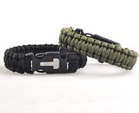 Wholesale Outdoor Camping Men Bracelet Rescue Paracord Parachute Cord Wristbands Emergency Survival Rope Kit Flint Whistle Scraper Buckle