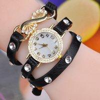 50 PC de la porción de la manera últimos estilo popular del estilo hawaiano que chispean el reloj de cuero largo de la cadena de la honda del encanto del Rhinestone Mujeres