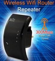 al por mayor wifi repeater finder-Rango Wireless N Router Wifi Repetidor Booster amplificador de señal del transmisor Extender 300 Mbps 802.11N / B / G Redes Wifi buscadores de DHL