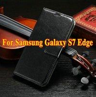 al por mayor venta al por mayor marcos de fotos de cuero-¡Al por mayor! Caja de cuero de 100pcs / lot S7 S7edge para la cubierta de lujo del tirón del marco de la foto de la carpeta de la cara de la galaxia S7 de Samsung para el borde de la bolsa Samsung S7