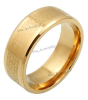 bibles gifts - 30pcs MM Stainless Steel jewelry English Golden Holy Bible Lord s Prayer Cross Ring Xams Gift