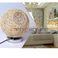 bamboo knobs - Modern Pastoral Woven Takraw Ball Decorative Lamp Bedroom Bedside Lamp Tablelamp