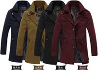 achat en gros de laine jaune long manteau-Automne-haute qualité cabans équipés longue tranchée laine manteau L XL 2XL 3XL noir vin jaune bleu de la mode des hommes d'affaires rouge 0516
