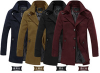 Wholesale Fall High quality fashion business men s fitted pea jackets long trench coat wool L XL XL XL black blue yellow wine red
