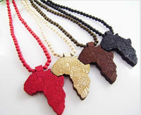 africa factory - Hip hop Necklace Wooden Hand drawn GOOD WOOD NYC Map of Africa Beaded rosary jewelry colors Factory Cheap Price