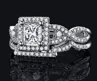 Revisiones Piedras preciosas conjunto de plata de ley-Tamaño 5/6/7/8/9/10 Princesa Lujo cortó 925 plata esterlina del topaz lleno mujeres Piedras preciosas Diamante simulado anillo de bodas set de regalo