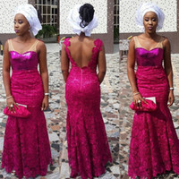 bella purple - 2015 Nigerian Aso Ebi Style Evening Dresses V neck Fuchsia Sequined Bodice Low Back Lace Floor length Mermaid Bella Naija Wedding Gowns