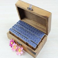 Wholesale W110Newest set Wooden Box multipurpose Number Alphabet Letter Wood Rubber Stamp Hot