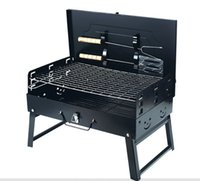 Wholesale 2015new Box style outdoor portable folding charcoal barbecue grill with shovel tools BBQ GRILLS