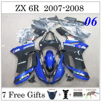 zx6r fairing - 2007 ZX6R ZX R Painting Motorcycle Fairing Kit Racing Bodywork Set For Kawasaki Ninja Glossy Blue Black Cowling Gifts