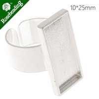 adjustable ring blank - 10x25mm silver plated adjustable rectangle cabochon setting ring ring blank ring bezel sold C4417