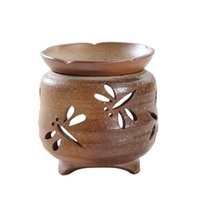 Wholesale Hollow Dragonfly Novelty Handcrafted Ceramic Incense Burner Aroma Censer Stove Candle HolderKungfu Tea Accessories Home Decors order lt no t