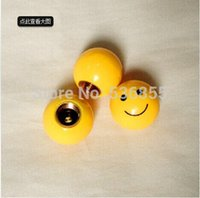 Wholesale 2014 new arrive novelty brass and ABS materialcar wheel tire valve cap stem smile face design retail price