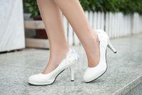 Painting Medium - Black pink white PU women s Coat of paint shoes Bud silk bowknot Wedding shoe Dress shoes