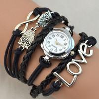american wrist watch - Love Owl Charms Infinity Bracelet Watches Fashion Quartz Wrist Women Watch Round Flower Case Quartz Movement Mix Colors DHL