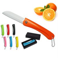 Wholesale Ultra Sharp Ceramic Knife Fruits Folding Knives Pocket Portable Kitchen Dinning Room Multi Color Paring Knife with Keychain