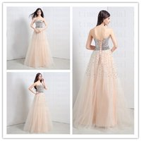 Cheap 2015 Real Picture Cheap Under 100$ Evening Dress Sequins Strapless Prom Dresses Fall Lace-up Long Evening Gowns Crystals Champagne Party New