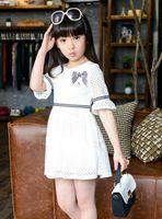 Wholesale Girls Dress Summer Korean Kid s Clothes Trumpet Sleeve Bowknot Pearls Brooch Princess Dress Soft Gauze Lace Tiered Hollow Dress N0877