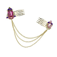 amethyst hair accessories - 2016 Bohemian Gold Headpieces Hair Accessories for Wedding Mysterious Amethyst Crystal Beautiful Gift Head Chains for Short Ha Fas