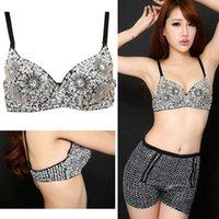beaded bra tops - Top Sale New Sexy Women s Bra Beaded Sequins Embellished Chrysanthemum Bra B C Cup Belly Dance