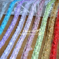 Wholesale 5 Yard Diy accessories lace trim three dimensional rose beads lace fabric clothes decoration cm wide