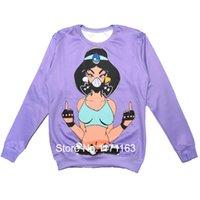Cheap 2014 New Fashion Men Women Sweatshirt Sexy Kunoichi & Fucking Middle Finger Harajuku 3D Print Novelty Pullover Purple Hoodies