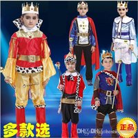 Wholesale 110 cm New boys halloween Christmas carnival king costumes kids children cosplay costumes for boys prince king costumes HC106
