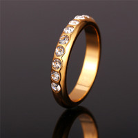 Wholesale 7 Vogue Gold Wedding Rings For Women Jewelry K Real Gold Plated Crystal Trendy Party Gift Engagement Ring Wedding Bands