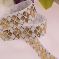 Wholesale New Design Gold foil printed FOE ribbon white inch Fold over relastic ribbon yards per color