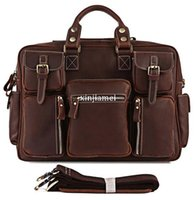 Cheap 2013 Very Hot Selling Rare Crazy Horse Leather Men's Briefcase Laptop Bag Travel Bag Leather # 7028R-1