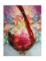 Cheap 24*32 Inch Framed Canvas Oil Paintings One Panel Modern Still Life Wine Cup Hand-painted Rectangle Shape Wall Art Paper Ready to Hang