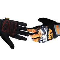 Wholesale Top KTM cross country motorcycle gloves Electric bicycle gloves racing bicycle gloves bike gloves with black white orange color size M L XL