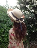 Wholesale 2016 New Arrival Korean Summer Hat For Lady Bow Visor Cap Hat Sunscreen Beach Beach Hat