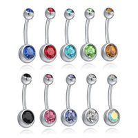 Wholesale Fashion Colorful Stainless Steel Ball Barbell Curved Navel Belly Button Rings Bars Piercing Pierce