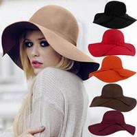 Wholesale Wool Felt Hat Autumn Winter Ladies Women Vintage Fedora Beach Sun Hats Floppy Wide Large Brim Hat Cloche Bowler pure color Woolen Caps