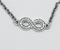 Wholesale 925 Sterling Silver Infinity Bracelet with CZ and Lobster Clasp Fits European Style Jewelry Charm and Bead