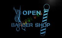 barber pole light - LB006 TM OPEN Barber Shop Pole Scissor Neon Light Signs Advertising led panel jpg