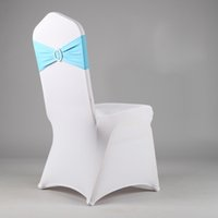 Wholesale SPANDEX BAND WITH ROUND BUCKLE FOR WEDDING AND PARTY BRAND CHAIR COVER SASH BOW DECORATION