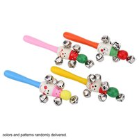 Unisex baby deliver - Cute Wooden Shaking Handbell Rattle Sound Toy Musical Instrument Gift for Baby Kid Child colors and patterns randomly delivered