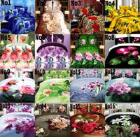 achat en gros de reine couette floral-Drap de Lit Couverture Couette Taille Reine Ensembles Confortable Imprimé Design Motif Rose Bleu Charmant 4 pièces Ensemble de Lits 3D Pas Cher 2016 Gratuit UPS