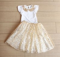 american clothing labels - Fashion Summer Children Outfits girls gold sequins label fly sleeve tops gold sequins tutu skirt sets kids princess clothing A5522