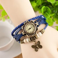 Wholesale freeship Fashion Retro Weave Women Genuine Leather Vine Watch bracelet butterfly watch wing leaf Eiffel Tower quartz Wrist watches