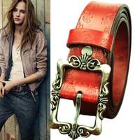 Wholesale 5pcs new fashion brand metal pin buckle women s faux leather belt vintage style female waistband ladies cummerbund HX