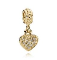 real sterling silver jewelry - Pave Heart k solid Gold Real Diamond Charm with Clear Cubic Zirconia Original Sterling Silver Charms DIY Jewelry AC3335