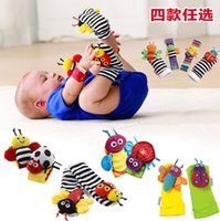 Wholesale Hot Lamaze Garden Bugs Wrist Rattle Foot Finder Baby Set Plush baby toys Educational toy High Contrast Christmas Gifts