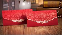 Cheap Hot Stamping Lace Wedding Favor Red Packet Money Envelope Gift bag Event Supplies Free Shipping